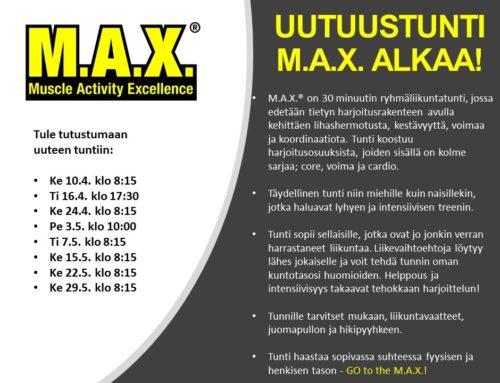 Uutuustunti M.A.X. alkaa!